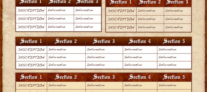 Custom eBook Template Table Options Page